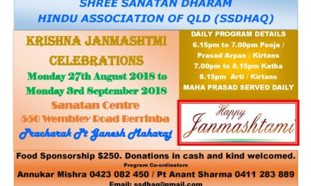 Krishna Janmashtmi Celebrations by Shree Sanatan Dharam Hindu Association of QLD