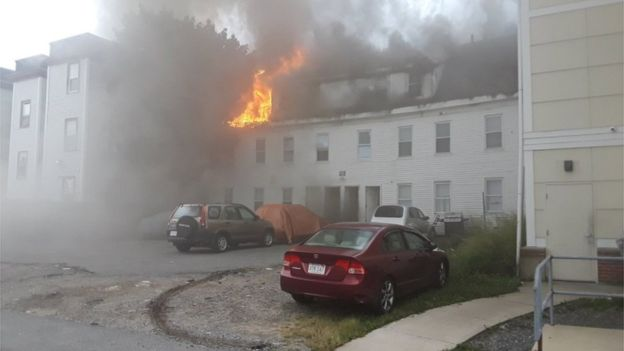 'Gas-related explosions' set fire to homes near Boston
