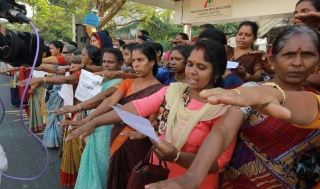 Sabarimala temple: Indian women form '620km human chain' for equality