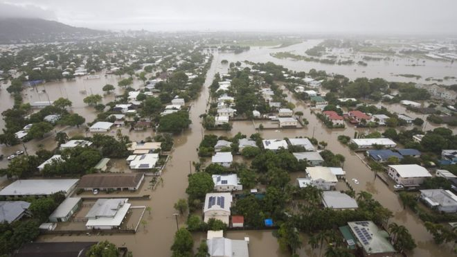 Australia floods: Two found dead as waters grip Townsville