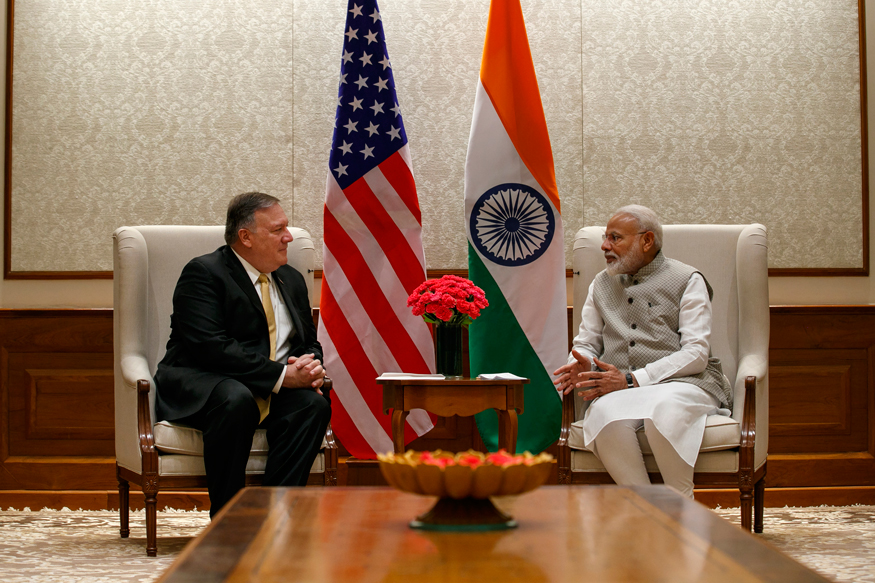 PM Modi Secy of State Mike Pompeo Discuss Ways to Achieve Indo-US Strategic Partnership